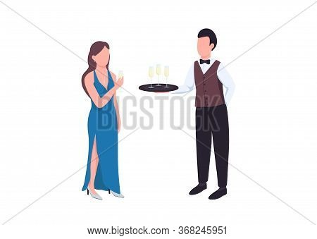 Elegant Flat Color Vector Faceless Characters. Man In Uniform With Tray. Male Waiter Serving Sparkli