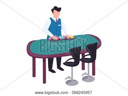Dealer Flat Color Vector Faceless Character. Man In Uniform Count Stack Of Chips. Blackjack Desk. Co