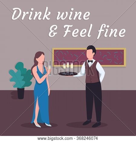 Restaurant Social Media Post Mockup. Drink Wine And Feel Fine Phrase. Web Banner Design Template. Ca