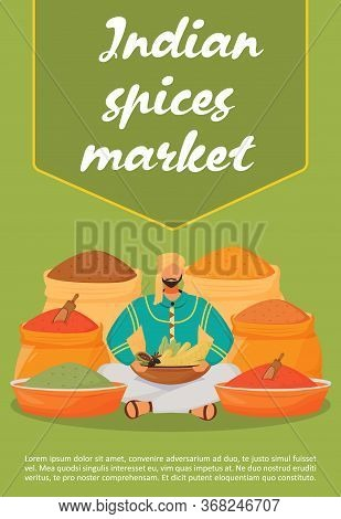 Indian Market Poster Flat Vector Template. Flavouring Trade Shop Brochure, Booklet One Page Concept