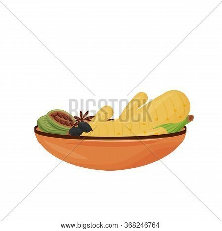 Indian Drink Condiments Cartoon Vector Illustration. Tea Additives In Ceramic Bowl Flat Color Object