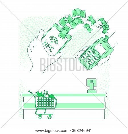 Mobile Payment Thin Line Concept Vector Illustration. Person Paying With Smartphone At Supermarket C