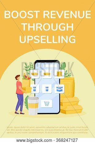 Food Upselling Poster Flat Vector Template. Internet Business, Revenue Boost, Income Receiving Broch