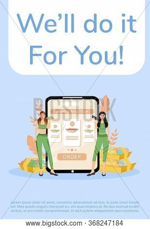 Meal Preparation And Delivery Service Poster Flat Vector Template. Healthy Nutrition Menu Brochure,