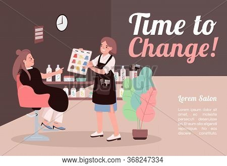 Time To Change Banner Flat Vector Template. Brochure, Poster Concept Design With Cartoon Characters.