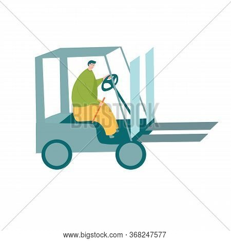 Forklift Driver In Yellow Pants And Green Shirt Operating Modern Forklift Machine