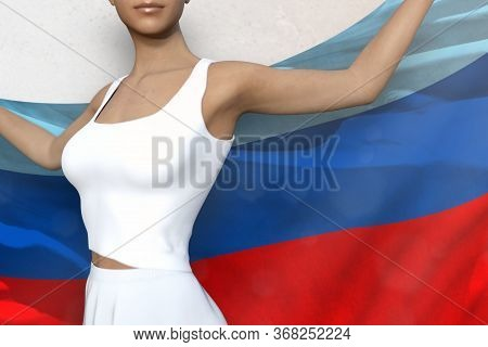 Young Lady Is Holding Luhansk Peoples Republic Flag In Her Hands Behind Her On The White Background