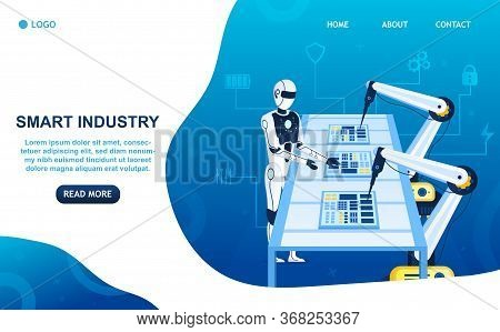 Factory Future Concept. The Humanoid Robot Controls The Production Process Robotic Arms. Assembly Of