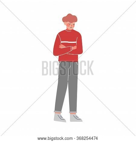 Unhappy Young Man, Guy Having Problems, Loneliness, Depression, Despair Vector Illustration