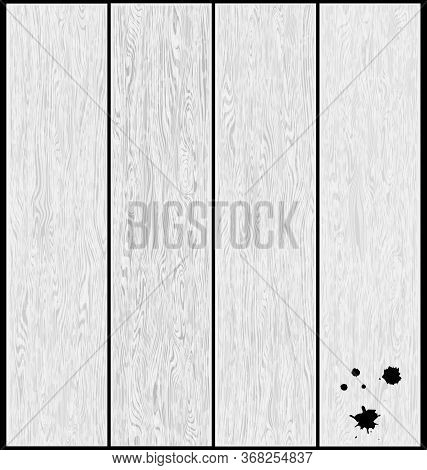 Vector Illustration White Wooden Planking With Blobls