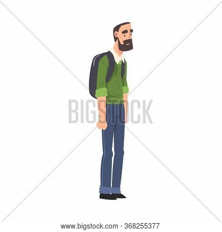 Bearded Man Standing With Backpack, Guy Spending Time In Expectation At Bus Stop Cartoon Vector Illu