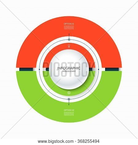 Infographic Circular Chart Divided Into 2 Parts. Step-by Step Cycle Diagram With Two Options.