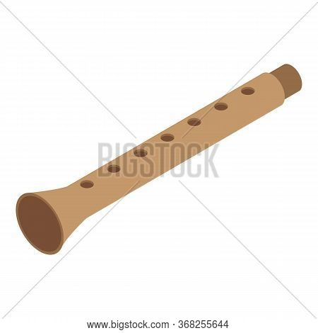 Musical Flute Icon. Isometric Of Musical Flute Vector Icon For Web Design Isolated On White Backgrou