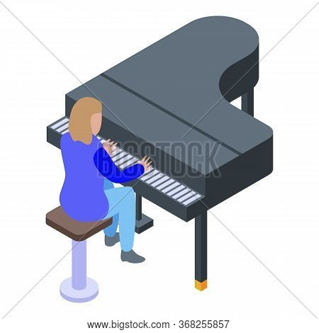 Girl Playing At Grand Piano Icon. Isometric Of Girl Playing At Grand Piano Vector Icon For Web Desig