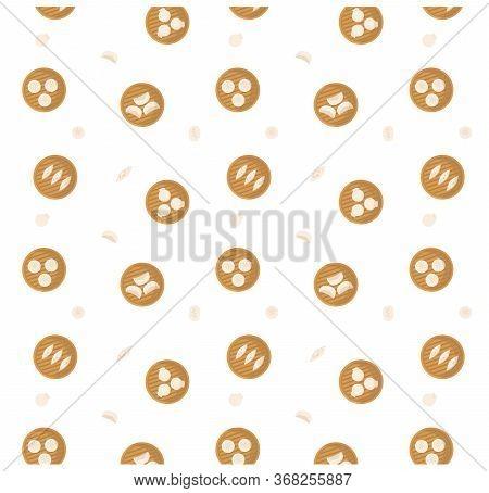 Dumplings Served In Bamboo Steamer Pattern. Dimsum, Gyoza, Momo, Asian Cuisine Seamless Background.