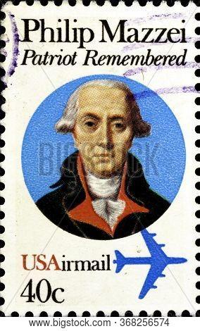 02 10 2020 Divnoe Stavropol Territory Russia Postage Stamp Usa 1980 Philip Mazzei 1730-1816 , Italia