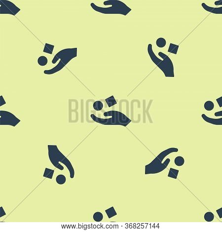 Blue Cube Levitating Above Hand Icon Isolated Seamless Pattern On Yellow Background. Levitation Symb