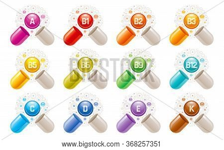 Vitamin Icons. Capsule Pill Supplement With A, B, B1, B2, B3, B5, B6, B9, B12, C, D, E, K Vector Vit