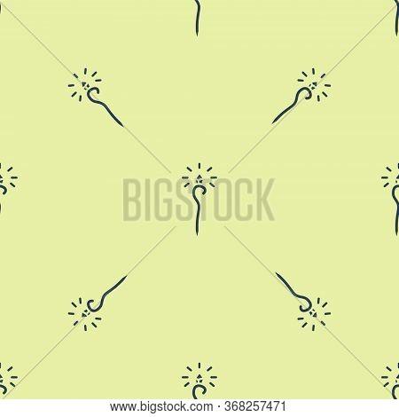Blue Magic Staff Icon Isolated Seamless Pattern On Yellow Background. Magic Wand, Scepter, Stick, Ro
