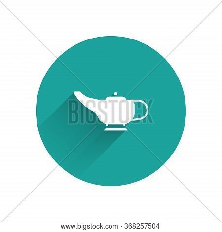 White Magic Lamp Or Aladdin Lamp Icon Isolated With Long Shadow. Spiritual Lamp For Wish. Green Circ