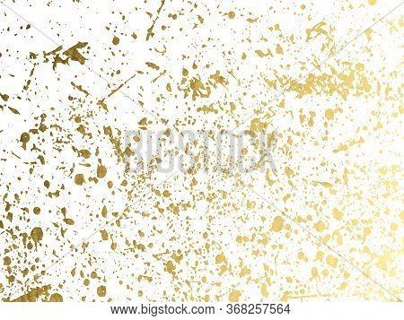 Gold Round Splash Dots Or Glittering Spangles Background. Hand Drawn Spray Texture. Golden Blots, Sp
