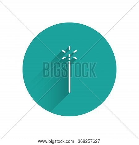 White Magic Wand Icon Isolated With Long Shadow. Star Shape Magic Accessory. Magical Power. Green Ci