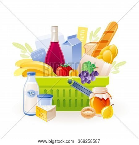 Food Basket Icon. Vector Supermarket Shop Cart, Full Of Food. Grocery Bag With Product Set Fresh Mil