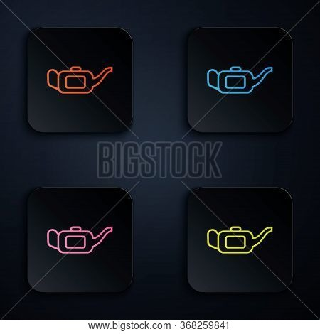 Color Neon Line Canister For Motor Machine Oil Icon Isolated On Black Background. Oil Gallon. Oil Ch
