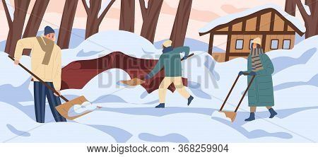 Group Of Colorful People Remove Snow At Yard Vector Flat Illustration. Active Man And Woman Work Out