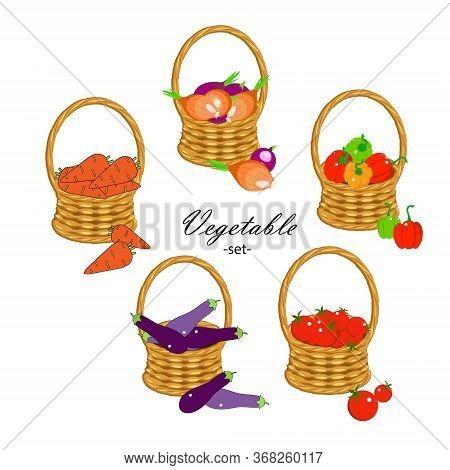 Vegitable Set. Carrot, Eggplant, Papper Bell, Onion, Tomato In Wicker Basket Art Design Stock Vector