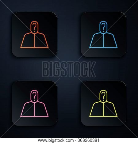 Color Neon Line Anonymous Man With Question Mark Icon Isolated On Black Background. Unknown User, In