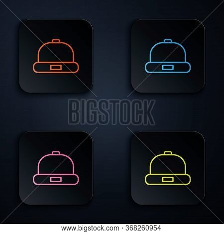 Color Neon Line Beanie Hat Icon Isolated On Black Background. Set Icons In Square Buttons. Vector Il