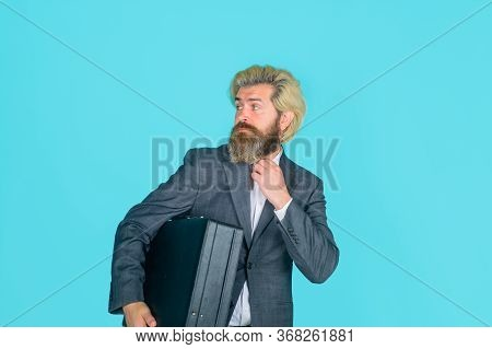 Business. Office Worker. Businessman With Suitcase. Ceo. Bearded Businessman In Suit. Business, Peop