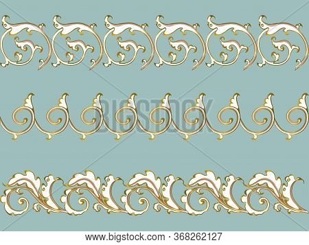 Antique Ornament In Style Baroque Of Acanthus Leaves. Vector Set Gold On Blue.
