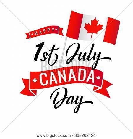 Canada Day 1st July Vector Illustration. Happy Canada Day Holiday Invitation Design. Flag With Red M