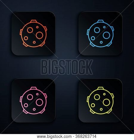 Color Neon Line Ufo Abducts Cow Icon Isolated On Black Background. Flying Saucer. Alien Space Ship.