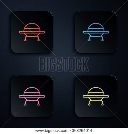 Color Neon Line Ufo Flying Spaceship Icon Isolated On Black Background. Flying Saucer. Alien Space S
