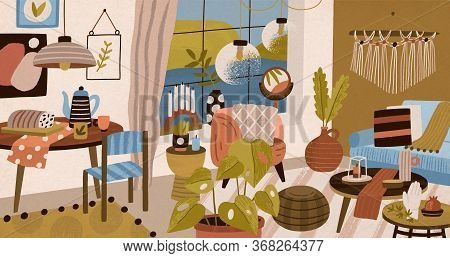 Comfy Colorful Hand Drawn Living Room Interior Vector Illustration. Trendy Decoration Furnishing Of