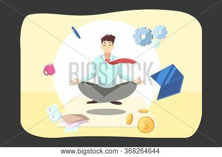 Business, Relaxation, Meditation, Rest Concept. Young Businessman Clerk Manager Employee Meditating