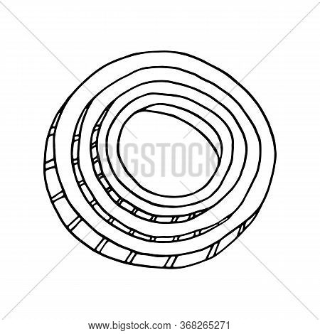 Outline Onion Vector Illustration. Hand Drawn Black And White Rings And Slices Of Onion. Fresh Ingre