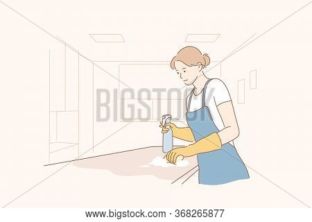 Cleaning In Office Concept. Young Happy Smiling Woman Maid Housekeeper Or Girl Janitor Cartoon Chara