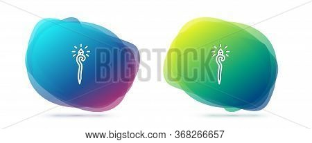 Set Line Magic Staff Icon Isolated On White Background. Magic Wand, Scepter, Stick, Rod. Abstract Ba