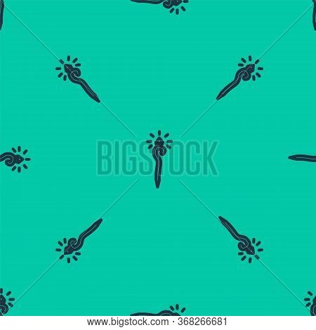 Blue Line Magic Staff Icon Isolated Seamless Pattern On Green Background. Magic Wand, Scepter, Stick
