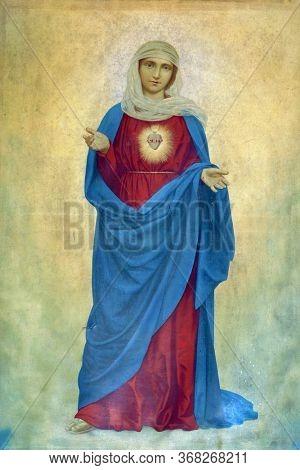 KLENOVNIK, CROATIA - OCTOBER 09, 2012: Immaculate Heart of Mary, altarpiece in the Holy Trinity Parish Church in Klenovnik, Croatia