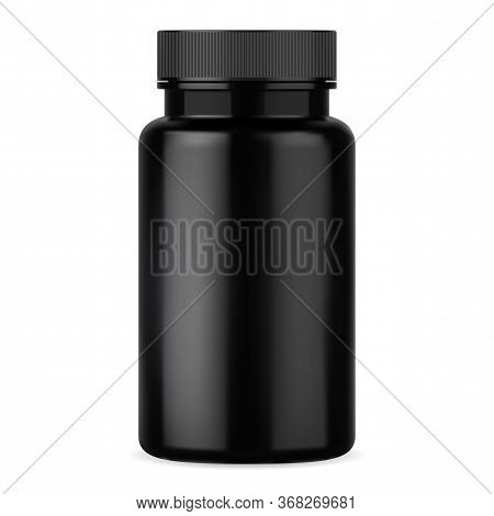 Black Pill Bottle. Supplement Vitamin Tablet Container Template. Glossy Plastic Capsule Packaging Mo