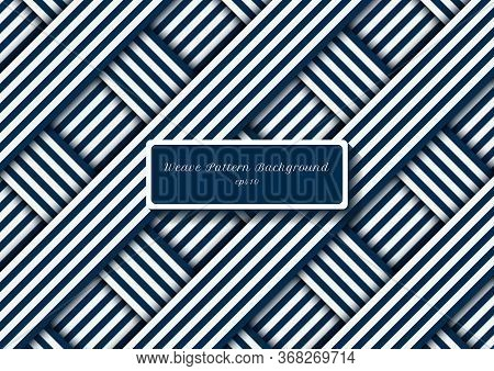 Abstract Blue And White Diagonal Stripes Lines Weave Pattern. Vector Illustration