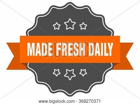 Made Fresh Daily Isolated Seal. Made Fresh Daily Orange Label. Made Fresh Daily
