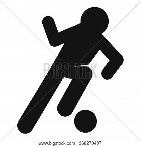 Soccer Player Dribbling Icon. Simple Illustration Of Soccer Player Dribblingvector Icon For Web Desi