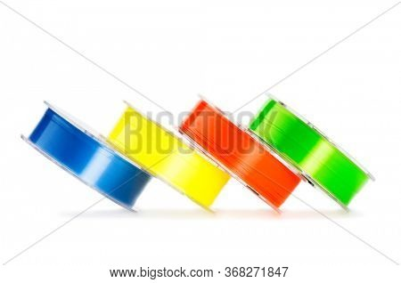 Four colored monofilament line for fishing isolated on white