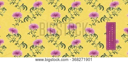Oriental Japanese Style Abstract Seamless Pattern Background Purple Chrysanthemum Flower With Yellow
